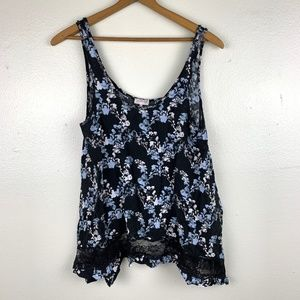 Free People Intamitley Blue Floral Trapeze Tank XS